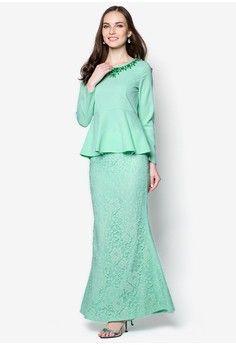 Davia Embellished Neck Peplum Kurung from VERCATO in green_1