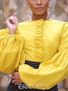 Patchwork Lantern Sleeve Plain Standard Women's Blouse - African fashion Ghanaian Fashion, African Fashion Dresses, Fashion Outfits, Fashion Top, Fashion Blouses, Couture Fashion, Blouse Styles, Blouse Designs, Black Women Fashion