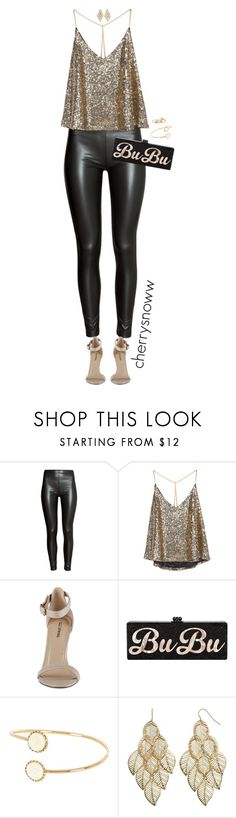 """""""Black and gold party outfit"""" by cherrysnoww ❤ liked on Polyvore featuring H&M, River Island and Mudd"""