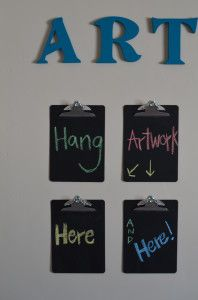 Chalkboard art display- fun site with toy organization ideas