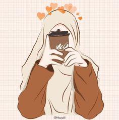Cartoon Kunst, Cartoon Drawings, Cartoon Art, Cartoon Girl Images, Girl Cartoon, Photos Islamiques, Cover Wattpad, Hijab Drawing, Islamic Cartoon