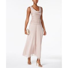 R & M Richards Petite Metallic A-Line Gown