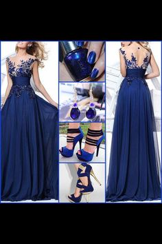 Beautiful navy dress w/ accents & all the accessories