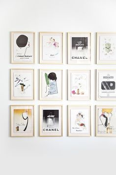 Framed ads.. Got a lot of mine out of Vogue magazine. Perfect for closets and bathrooms... And Cheap!