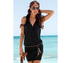 Sexy Fashion Women Summer Beach Dress Black/White Casual Sleeveless Deep V-neck Slim Solid Color Mini Dresses With Belt Short Beach Dresses, Summer Dresses For Women, Dress Summer, Dress Beach, Mini Dresses, Cotton Dresses, Formal Dress Shops, A Line Shorts, Fabulous Dresses