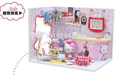 M005 хонгда поделки кукольный дом миниатюрный 3D ручной сборка деревянный кукольный домик ничуть мебель модель строительные комплекты китти бар купить на AliExpress