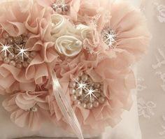 Blush Flower Girl Basket 3D Ring Bearer Pillow by nanarosedesigns, $79.00