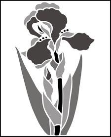 Garden Room Iris  stencils, stensils and stencles