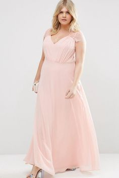 110.79 –Lace Cap Sleeve Chiffon Plus Size Bridesmaid Dress. Shop for long  dresses 3a1fdc74cd0b