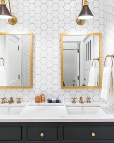 On the blog: 12 peel & stick wallpapers that don't look like wallpaper at all. Perfect for renters or quick fixes! (I included a hexagon paper that would make it easy to quickly recreate this look in a bathroom.) : @caitlinwilsondesign http://liketk.it/2rtVb #liketkit @liketoknow.it @etsy