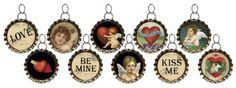 Primitives By Kathy Miniature Vintage Brass Bottlecap Ornaments - Valentines