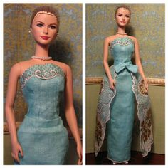 Ooak Barbie doll dress with detachable overskirt made from two vintage linen hankies