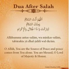 Dua after prayer.