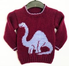 "A sweater featuring an Apatosaurus on the front   Knitted in double knitting yarn.   This sweater is sure to be a hit with your ""Dinosaur Mad"" youngster. There is a clear A4 chart to follow for the..."