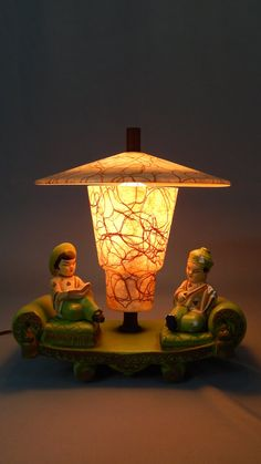 Delightful and Fascinating Vintage TV Lamp, Accent Lamp - Polychrome Chalkware, Asian Theme, Circa 1930s - 1940s..
