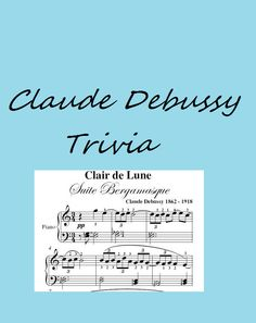One hundred and fifty years after Claude Debussy's birth, musicians and audiences are still captivated by the composer's brilliant and innovative body of work. The YouTube videos combined with the questions and answers make this quiz a delight. http://www.quizrevolution.com/ch/a151709/go