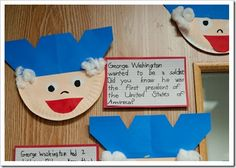 George Washington craft (using half a paper plate, paint, construction paper & cotton balls) for Presidents' Day Classroom Crafts, Classroom Activities, Preschool Crafts, Crafts For Kids, Classroom Ideas, Toddler Classroom, Writing Activities, Preschool Activities, Kindergarten Social Studies