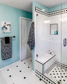 black and white and teal bathroom, love the colors but would have gone with  more of a French country feel, girls bathroom