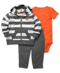 Carter's Baby Set, Baby Boy Striped Jacket, Bodysuit & Pants - Kids Newborn Shop - Macy's