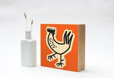Kitchen Art, Chicken Gift, Chicken Art, Rooster Decor, Retro Kitchen Decor, Mid Century Modern by LuckyTheRooster on Etsy