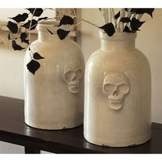 Pottery Barn Skull Ceramic Vase ($109) ❤ liked on Polyvore