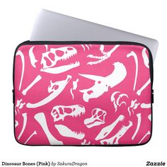 Dinosaur Bones (Pink) Computer Sleeve