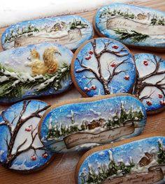 christmas cookies gingerbread Weihnachtspltzchen C - christmascookies Fancy Cookies, Iced Cookies, Cute Cookies, Holiday Cookies, Cupcake Cookies, Sugar Cookies, Christmas Desserts, Christmas Baking, Paint Cookies