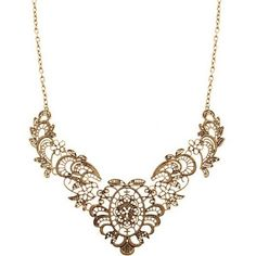 Euro Style Flower Gold Necklace SP48976 ($9.36) via Polyvore