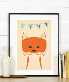 Retro poster  lynx forest animals  vintage print A3 by EmuDesigns, $19.95