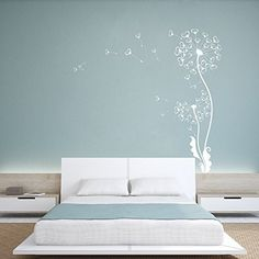 MairGwall Nursery Girl Room Wall Decal Dandelion Flower Art Sticker Home Decor (Large,White) -- Visit the image link more details. (This is an affiliate link) Dandelion Wall Decal, Flower Wall Decals, Kids Room Art, Kids Room Design, Nursery Wall Decor, Home Decor Bedroom, My New Room, Room Colors, Modern Interior Design