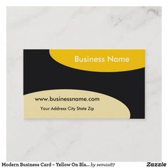 Modern Business Card ~ Yellow On Black Unique Business Cards, Business Names, Things To Come, Yellow, Black, Black People, Gold