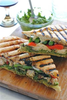 Chicken Pesto Panini, a gorgeous feast for the eyes and tum-a-tum-tum! Love @Beverly Weidner -- Bev Cooks