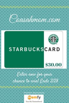 Enter to #win a $30 gift card to Starbucks, courtesy of Memfy.com and Confessions of a Stay at Home Mom! #Giveaway ends February 28 (1:00am).
