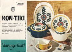 "Dishes ""Kon Tiki"" , Inger Waage for Stavangerflint Norway // Scandinavian Mid Century Dishes // Dinnerware Collection Kon Tiki Vintage Crockery, Vintage China, Stavanger Norway, Modern Dinnerware, Norwegian Wood, Pottery Designs, Mid Century Design, Vintage Advertisements, Dog Bowls"