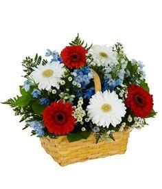 Floral foam blue delphinium and bethlehem on pinterest for Red white blue flower arrangements