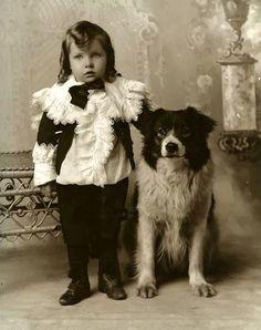 Vintage Border Collie Victorian Boy In Ruffles And Curls Collie Dog 1890 Vintage Children Photos, Vintage Pictures, Photos With Dog, Dog Pictures, Me And My Dog, Vintage Borders, Dogs And Kids, Collie Dog, Vintage Dog