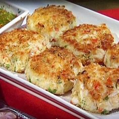 """""""Joe's Crab Shack Crab Cakes"""", cut fillers in half and tastes even better, super easy to make, post by connie g. for Key Ingredient, pinned by Mary Templeton."""