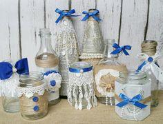 Upcycled mason jars  rustic wedding decor by FlutterbyBazaar