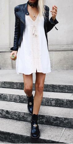 97 Amazing Spring Outfits To Try Now Visit to see full collection Black Leather Jacket Outfit, Short Leather Jacket, Street Style Outfits, Fashion Outfits, Smart Casual Outfit, Lace Outfit, Spring Fashion Trends, Leather Dresses, Dress With Boots