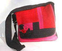 Pink Red and Black IPad Bag Rosette IPad Bag Pink by Tweedable