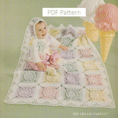 Baby Layette Crochet Patterns - Ice Cream Parfait - 2 Baby Afghan Crochet Patterns Pattern Only. PDF Instant Download    Patterns include:    1.