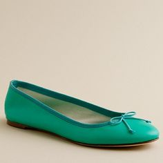 Classic leather ballet flats in gallery green - J. CREW