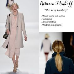 Rebecca Minkoff How To: Blow-dry hair with TRESemmé Thermal Creations Mousse using a flat brush Mattify hair with TRESemmé Fresh Start Renewing Dry Shampoo, then create a center part Lightly back-brush to create an airy texture and brush hair into a low ponytail, fastening with an elastic just below the nape Gently pull a few wisps of hair from the ponytail to frame face. Finish with TRESemmé 24 Hour Body Finishing Spray, if needed