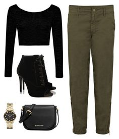 """kylie jenner inspired outfit"" by teensallover ❤ liked on Polyvore featuring Mother, Boohoo, Tabitha Simmons, MICHAEL Michael Kors, Marc by Marc Jacobs, outfit, ootd and Idea"