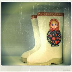 Matryoshka garden or rain boots
