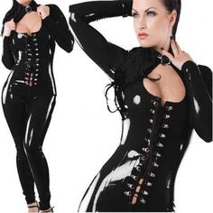2017 New Black Fetish Gothic Faux Leather Jumpsuit Quality Vinyl Buckle Neck  Lace Up Front Catsuit Sexy Night Club Jumpsuit a3b8a1f04