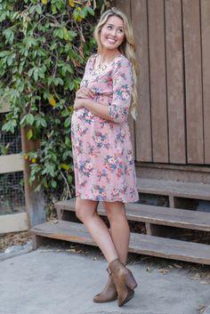 Light-Pink-Rose-Floral-Printed-3/4-Sleeve-Chiffon-Matenrity-Dress