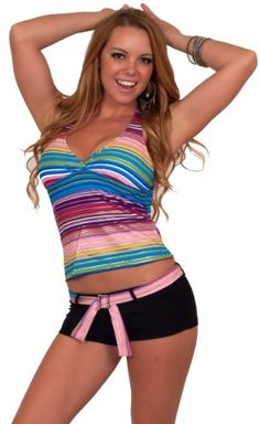 Two Piece Padded Tankini Halter Bathing Suit Belted Boy Short Swimsuit S M L  From Hot from Hollywood   http://astore.amazon.com/ffiilliipp-20/detail/B008MMJO6O/191-9228682-0467505