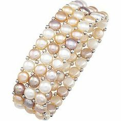 Freshwater Pearls Stretch Bracelet The Men's Jewelry Store. $53.88. Natural Multi-Color Pastels Button Freshwater Cultured Pearls. Silver Bead Weight is 1.40 Grams. Sterling Silver Beads between each Pearl. Three Rows of Natural Multi-Color Pastels Freshwater Button Pearls. 75 Button Pearls Measure 5 mm to 5.5 mm. Save 30%!