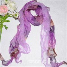 e fashion long double layer purple stripesilk scarf